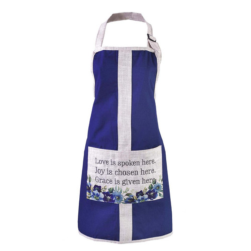 Love Joy Grace Bib Apron in Blue