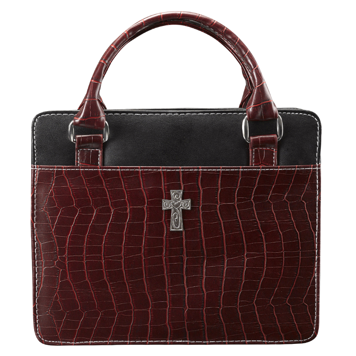 Purse-Style-with-Crocodile-Embossing-in-Burgundy-Bible-Cover-Size-Medium