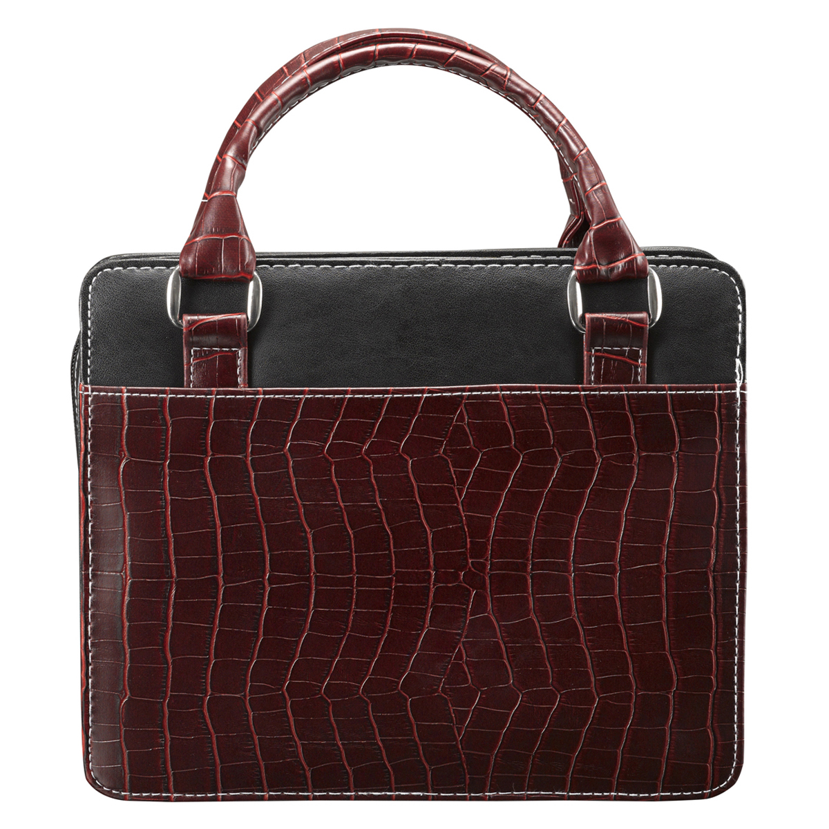 Purse-Style-with-Crocodile-Embossing-in-Burgundy-Bible-Cover-Size-Medium thumbnail 2