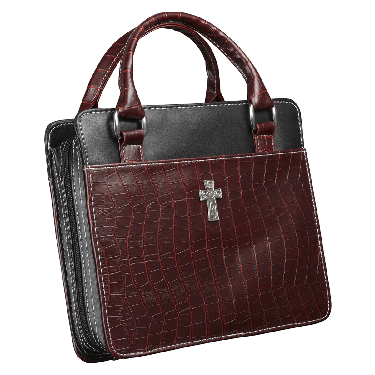 Purse-Style-with-Crocodile-Embossing-in-Burgundy-Bible-Cover-Size-Medium thumbnail 4