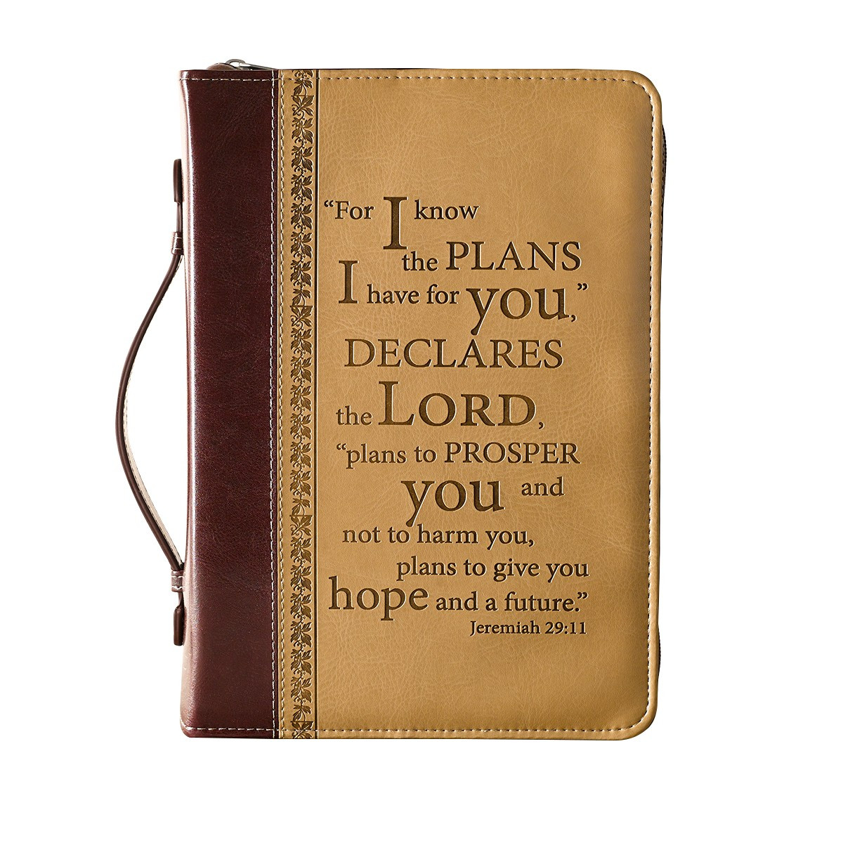 I Know The Plans In Burgundy And Sand Bible Cover