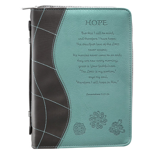 Hope Turquoise Faux Leather Bible Cover - Lamentations 3:21-24