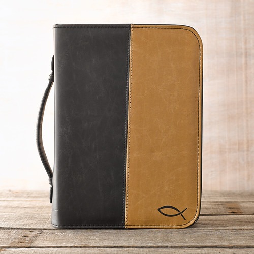 Two-Tone with Jesus Fish Bible Cover