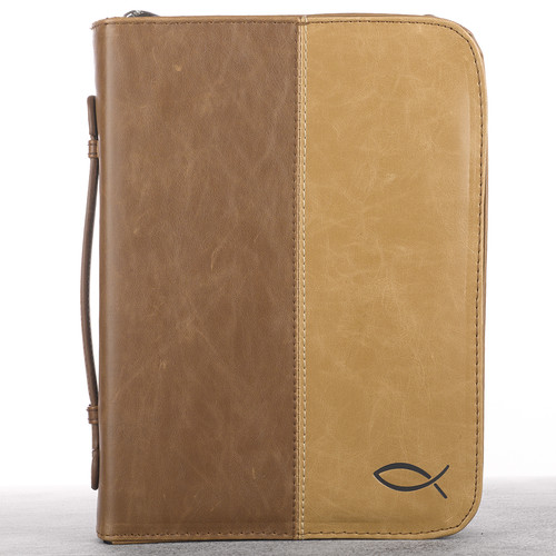 Tan & Brown Two-Tone Bible Cover with a Fish Design