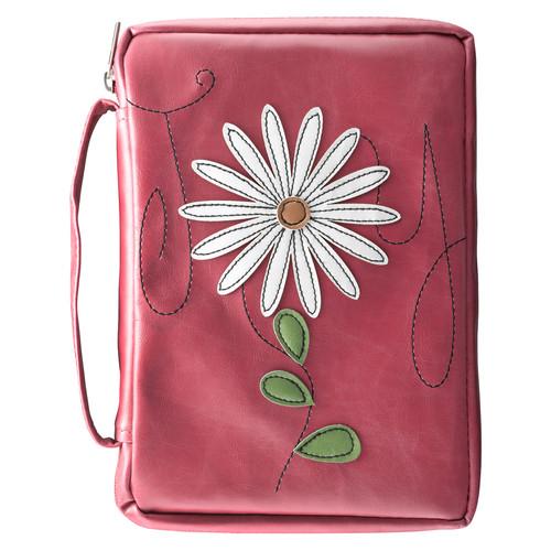 Joy Flower Applique in pink Psalms 16:11 Bible Cover