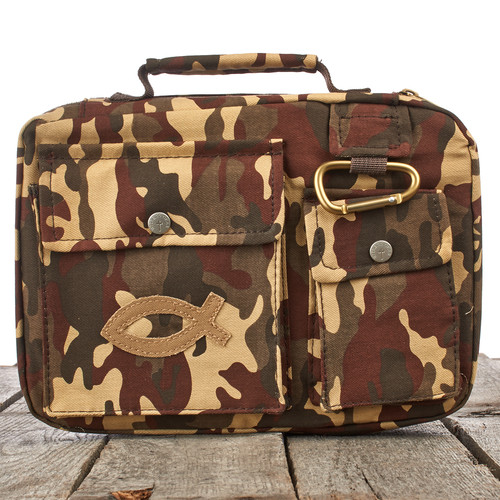 Fish Emblem in Brown Camouflage Bible Cover