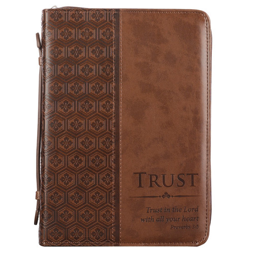 """Vintage Leather Look Jeremiah Verse Bible Book Cover Large: Brown """"Trust"""" LuxLeather Bible Cover"""