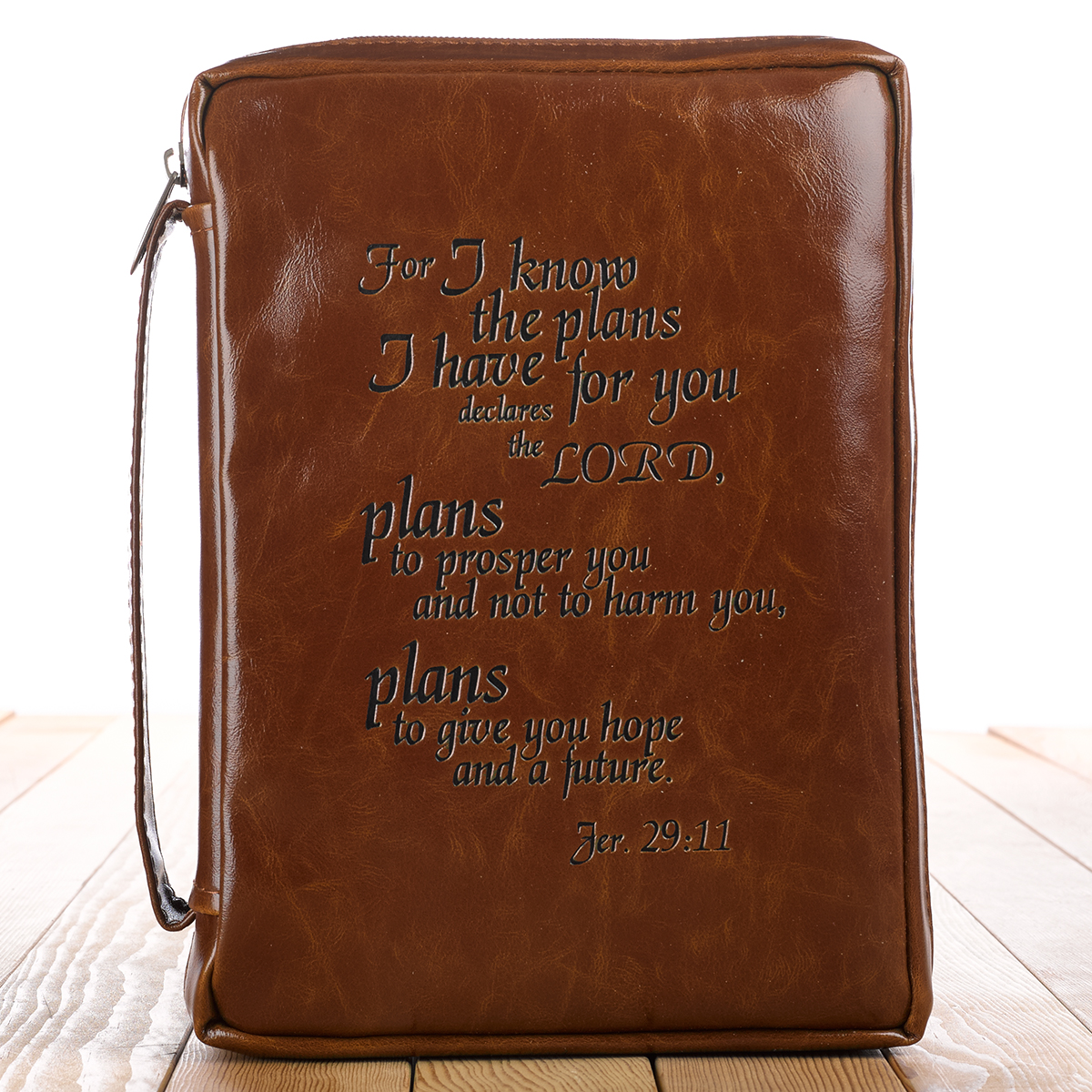 I know the Plans in vintage brown Jeremiah 29:11 Bible Cover, Size Medium