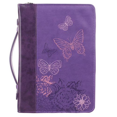 Butterflies in two tone purple 2 Corinthians 5:17 Bible Cover