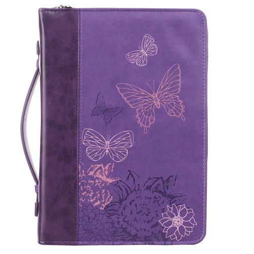 New Creation Purple Butterflies Faux Leather Fashion Bible Cover - 2 Corinthians 5:17