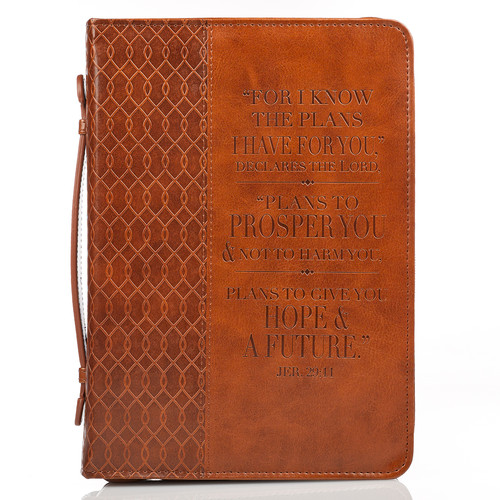 I know the Plans in two-tone Brown Jeremiah 29:11 Bible Cover