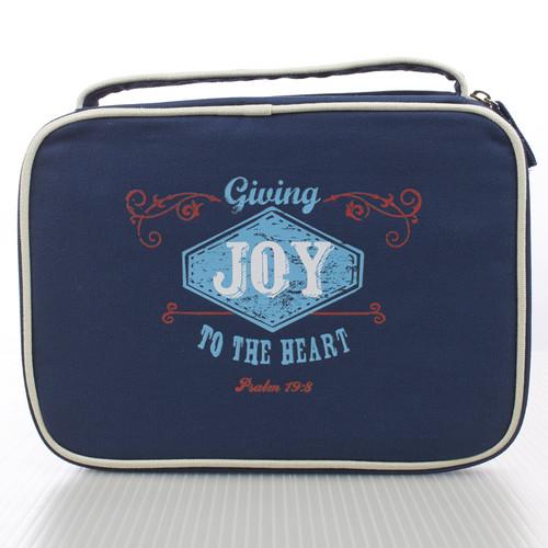 Navy Blue Joy Retro Blessings Bible Cover