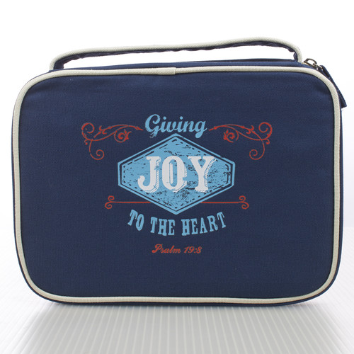 Navy Blue Joy Retro Blessings Bible Cover