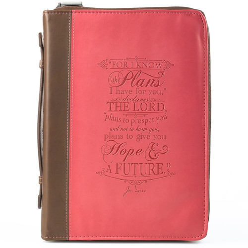 I Know The Plans Pink and Brown Faux Leather Fashion Bible Cover - Jeremiah 29:11