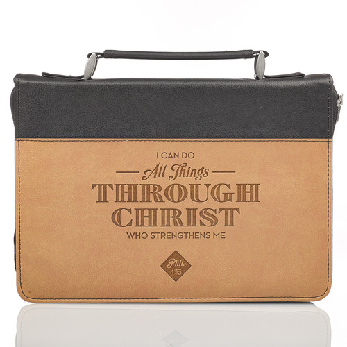 All Things Through Christ Tan Faux Leather Bible Cover - Philippians 4:13