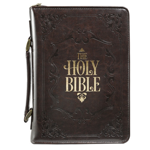 The Holy Bible Dark Brown Faux Leather Classic Bible Cover