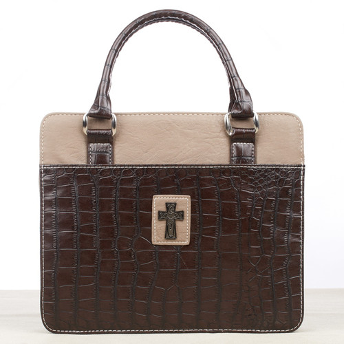 Purse Style Crocodile Embossing in Brown Bible Cover
