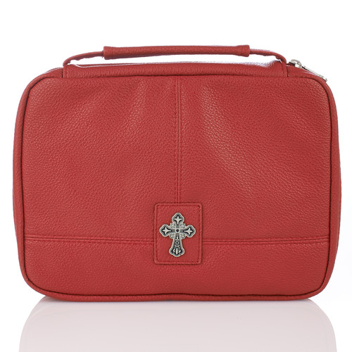 Red Two-Fold with Cross Bible Cover Organizer