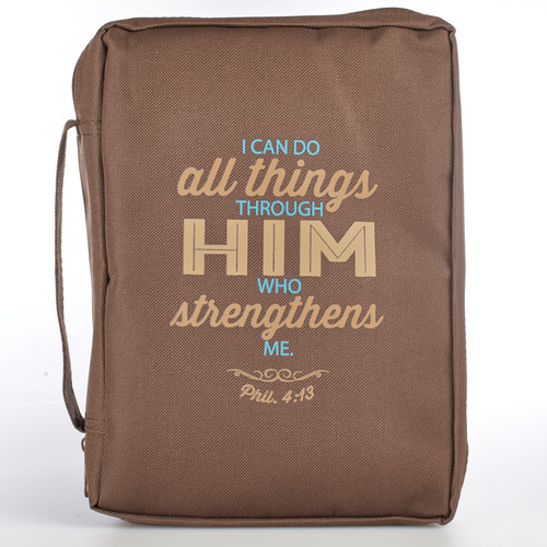 Brown Poly-Canvas Featuring Philippians 4:13 Bible Cover