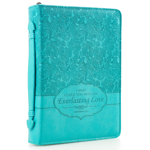 """Vintage Leather Look Jeremiah Verse Bible Book Cover Large: Turquoise """"Everlasting Love"""" Bible / Book Cover"""