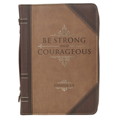 Be Strong and Courageous Portfolio Design Faux Leather Classic Bible Cover - Joshua 1:9