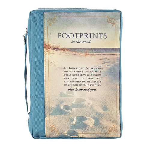 Footprints printed polyester canvas Bible Cover