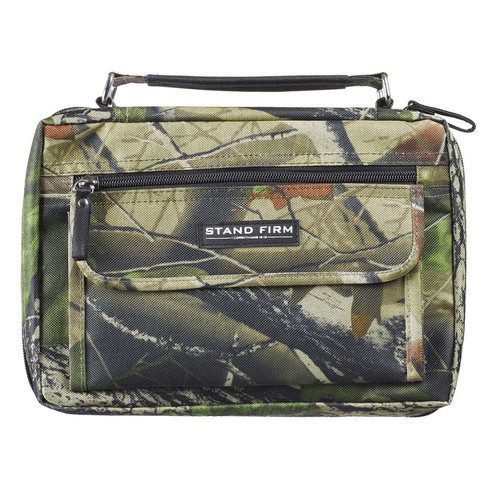 Stand Firm Mossy Oak Camo Poly-Canvas Organizer Bible Cover - 1 Corinthians 16:13