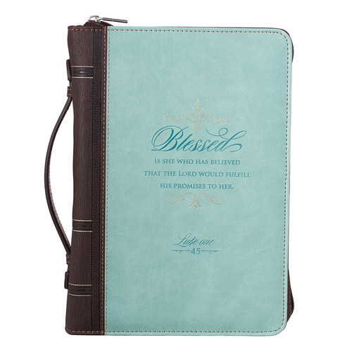Blessed Light Blue Faux Leather Fashion Bible Cover - Luke 1:45