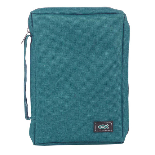 Teal Poly-Canvas Value Bible Cover with Fish Badge