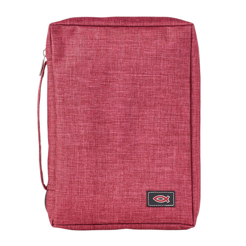 Poly-Canvas with Fish Applique in Burgundy Bible Cover