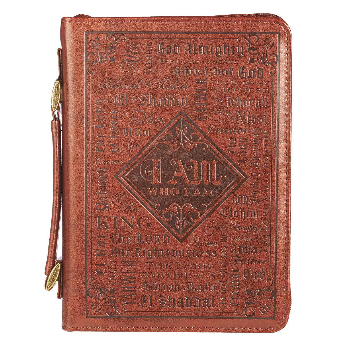 Bible Covers: Names Of God In Brown Luxleather Bible Cover