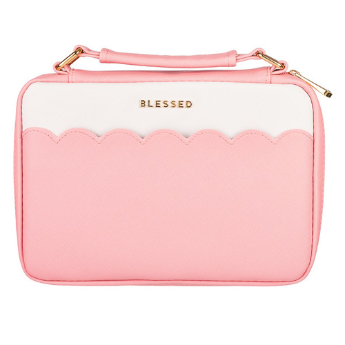 Blessed Pink Scalloped Faux Leather Fashion Bible Cover