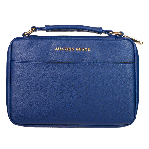 Amazing Grace Navy Faux Leather Bible Cover