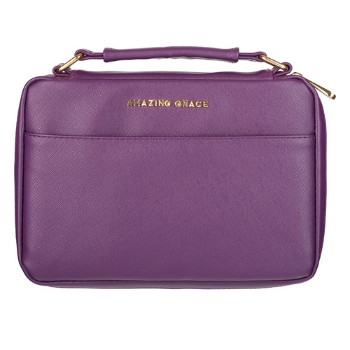 Amazing Grace LuxLeather Bible Cover in Berry