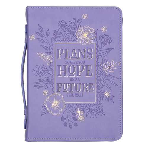 Hope and Future Purple Faux Leather Bible Cover - Jeremiah 29:11