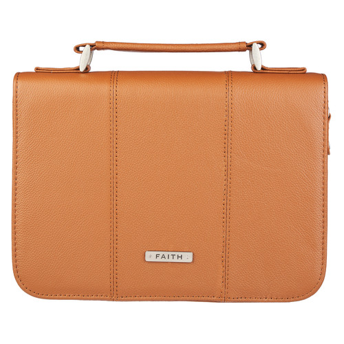 Faith Full Grain Leather Bible Cover in Saddle Tan