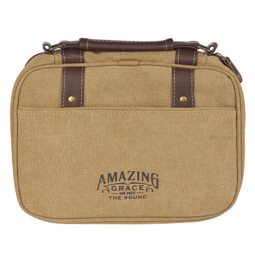 Amazing Grace Tan Canvas Classic Bible Cover