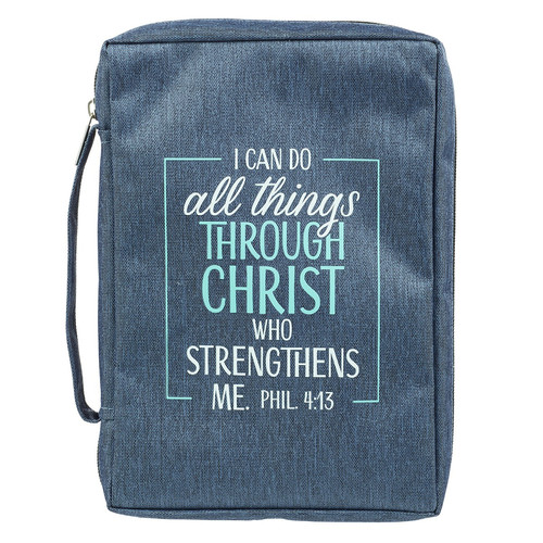 I Can Do All Things Blue Poly-Canvas Bible Cover - Philippians 4:13