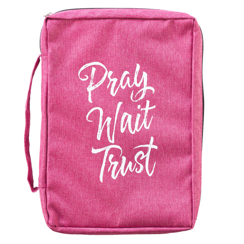 Pray Wait Trust Pink Poly-canvas Value Bible Cover