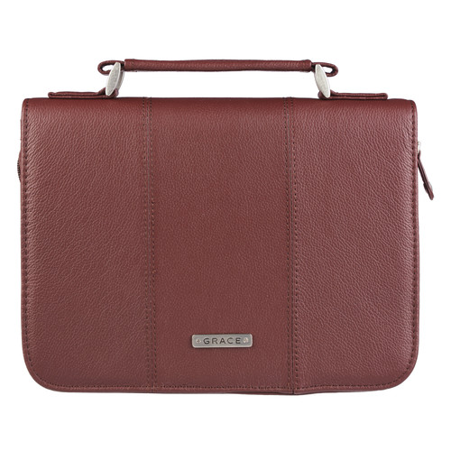 Grace Full Grain Leather Bible/Book Case in Russet Brown