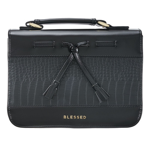 Blessed Black Croc Faux Leather Fashion Bible Cover with Tassels