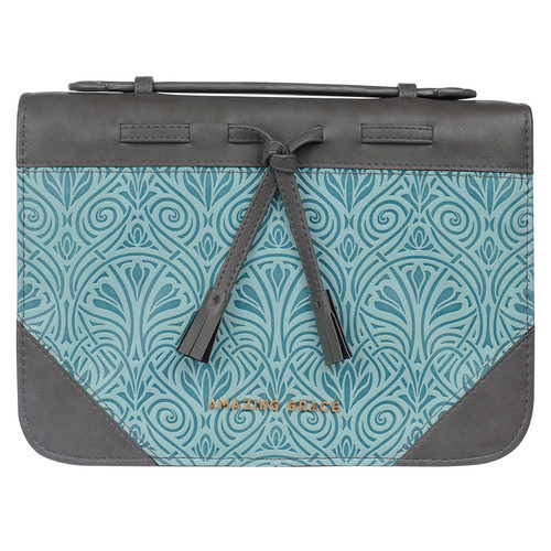 Amazing Grace Gray and Turquoise Faux Leather Fashion Bible Cover with Tassels