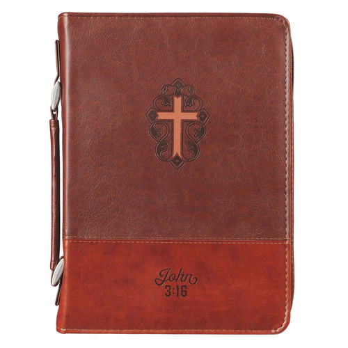 John 3:16 Collection Two-Tone Brown Faux Leather Bible Cover With Cross