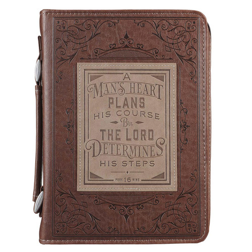 A Mans Heart Faux Leather Bible Cover in Brown - Proverbs 16:9