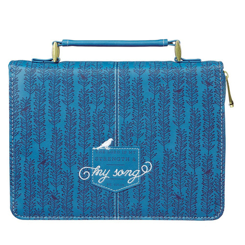 The Lord Is My Strength and My Song Blue Faux Leather Fashion Bible Cover - Psalm 118:14
