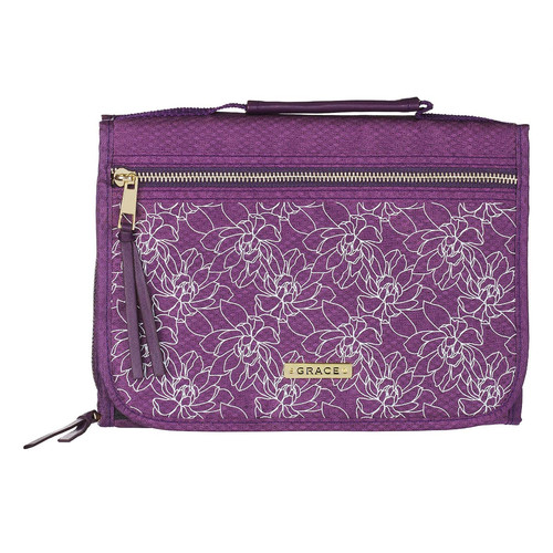 Grace Purple Tri-fold Organizer Bible Cover