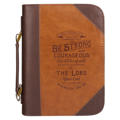 Do Not Be Afraid Two-tone Toffee and Chocolate Brown Faux Leather Bible Cover – Joshua 1:9