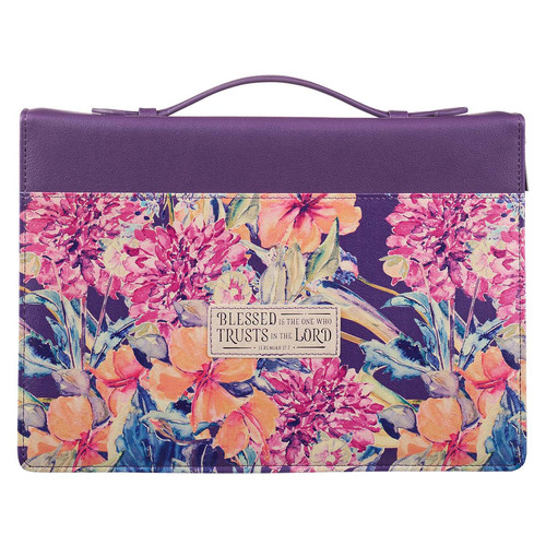 Purple Floral Blessed Is The One Faux Leather Fashion Bible Cover - Jeremiah 17:7
