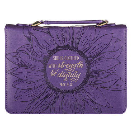 Purple Sunflower Strength & Dignity Faux Leather Fashion Bible Cover - Proverbs 31:25