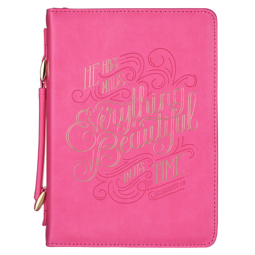 He Has Made Everything Beautiful Pink Faux Leather Fashion Bible Cover - Ecclesiastes 3:11